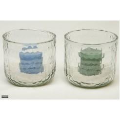 Sfeerlicht glas met kaars + zand 15,5x14