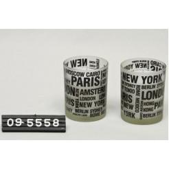 Sfeerlicht glas met wax wit cities