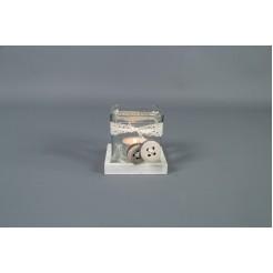 Kaarsenhouder met glas Puckett wit
