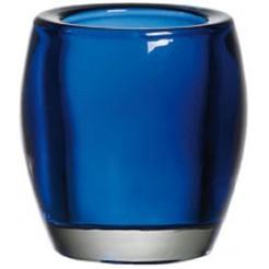 Glazen theelichthouder marine blauw